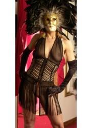 Robe sexy divine franges noir style corset libertine   Lingerie sexy