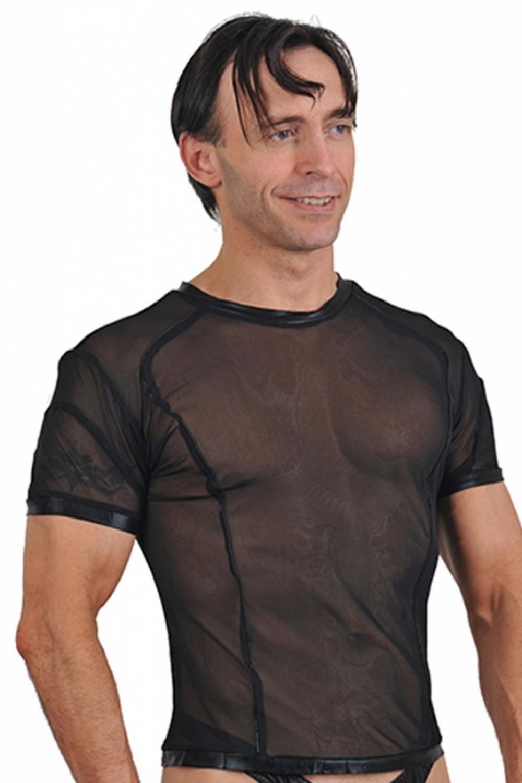 TeeShirt pour homme en fine résille et vinyls noir
