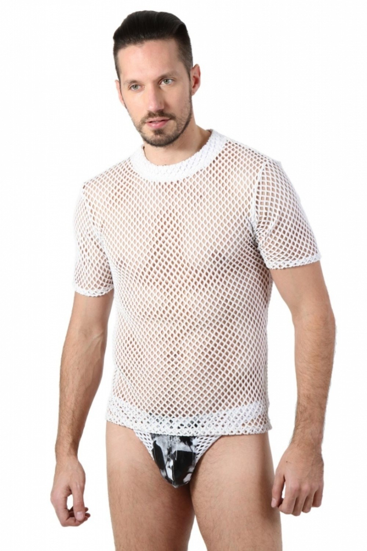 Tee shirt homme large résille blanc