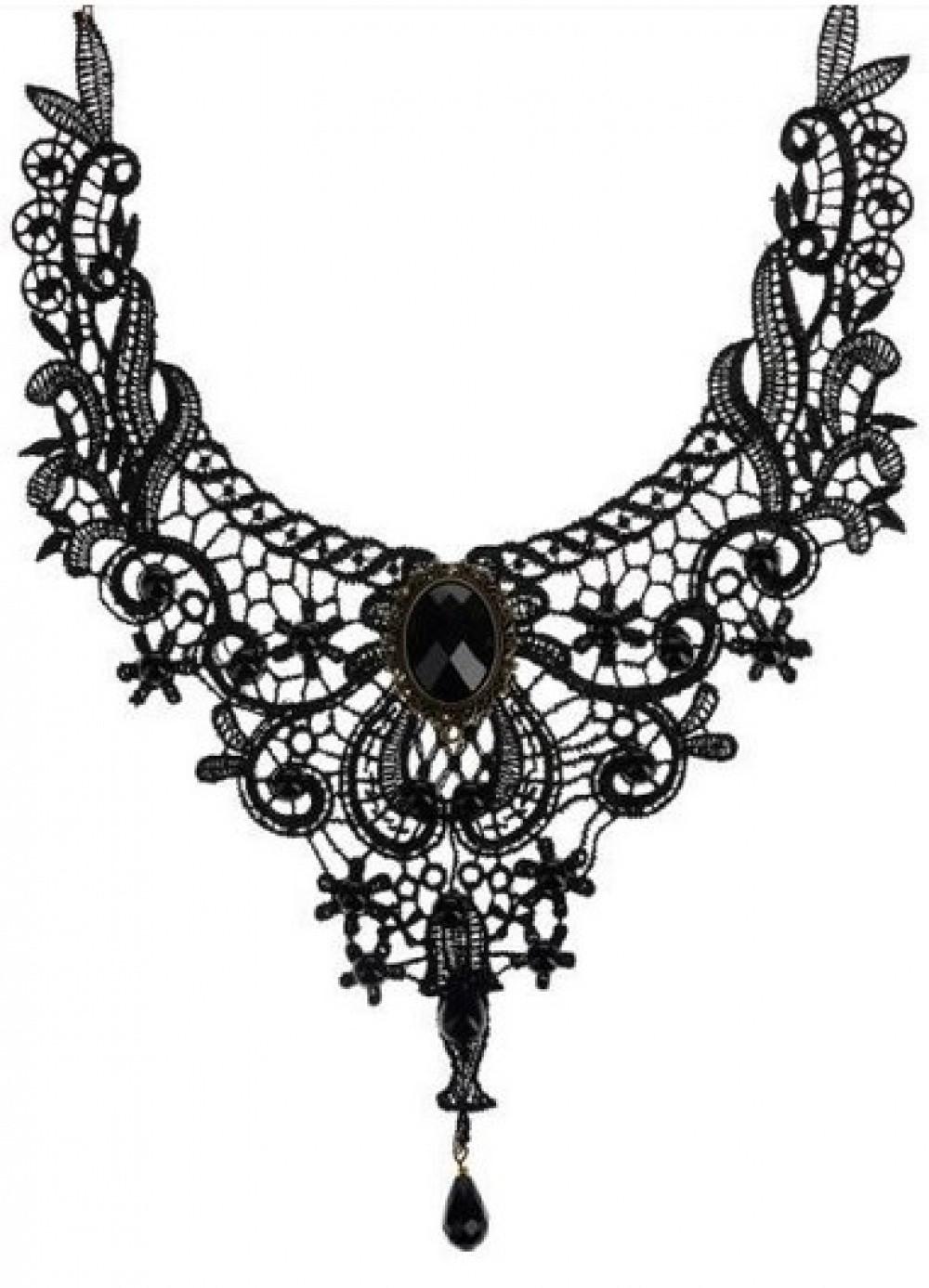 Collier baroque en dentelle brodée Epicuria noir