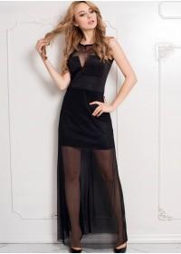 Robe longue Camélia Opaque & tulle transparent noir