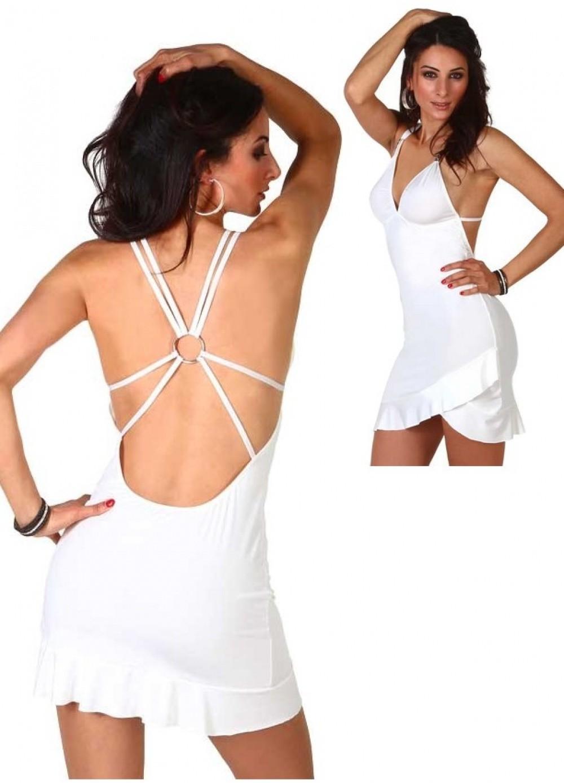 Robe courte Salsa asymétrique et bijou dos blanc