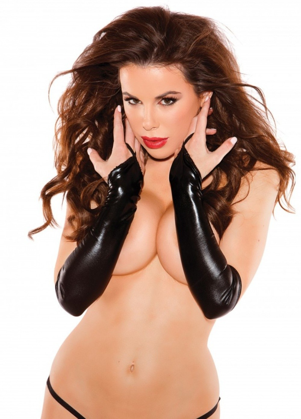Gants longs mitaine Sexy Siren Gloves wetlook noir