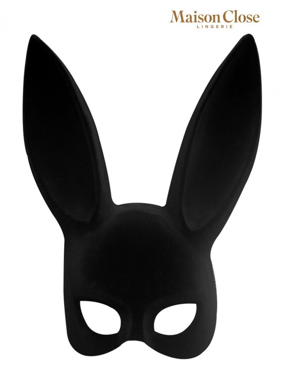 Masque Bunny suédine noir avec queue pompon marabout
