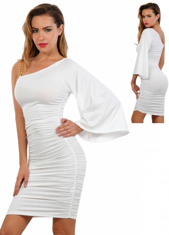 Robe courte et sexy blanche manches asymétriques