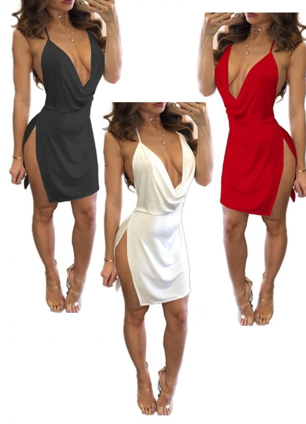 Robe sexy et simple dos nu avec fentes sur les cuisses