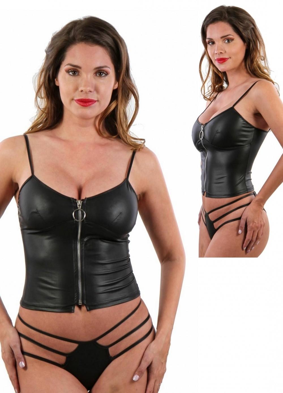 Top sexy pour femme en wetlook noir avec fermeture zip sur l'avant
