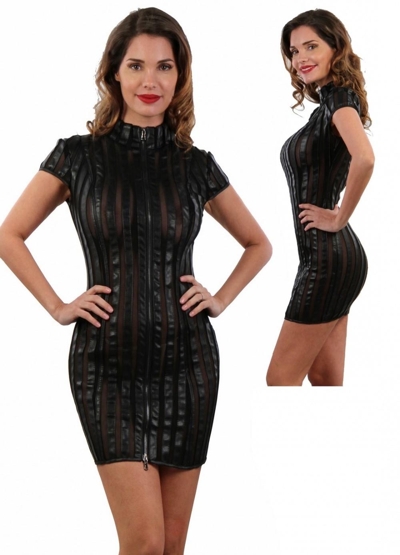 Robe sexy pour femme tulle transparent et aspect cuir noir