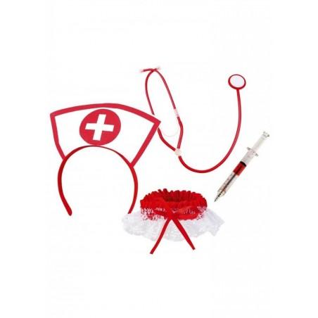 Kit infirmière - 4 pièces Coiffe Stéthoscope Seringue Jarretière