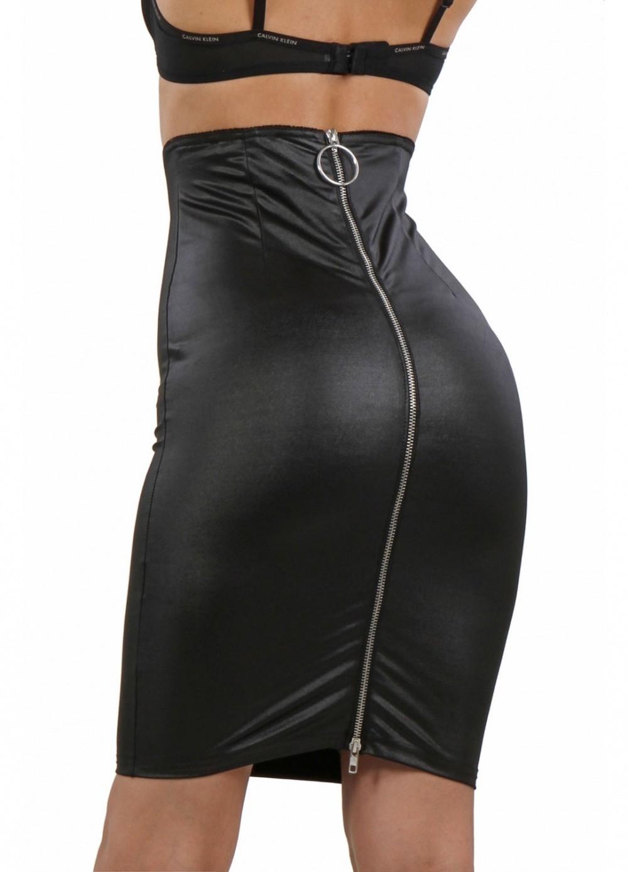 Jupe sexy pour femme en wetlook aspect cuir mi-longue
