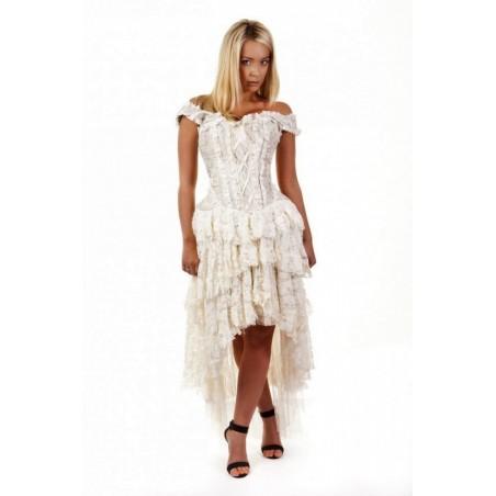 Robe corset Ophelie Brocard crème Jupe dentelle crème Burleska