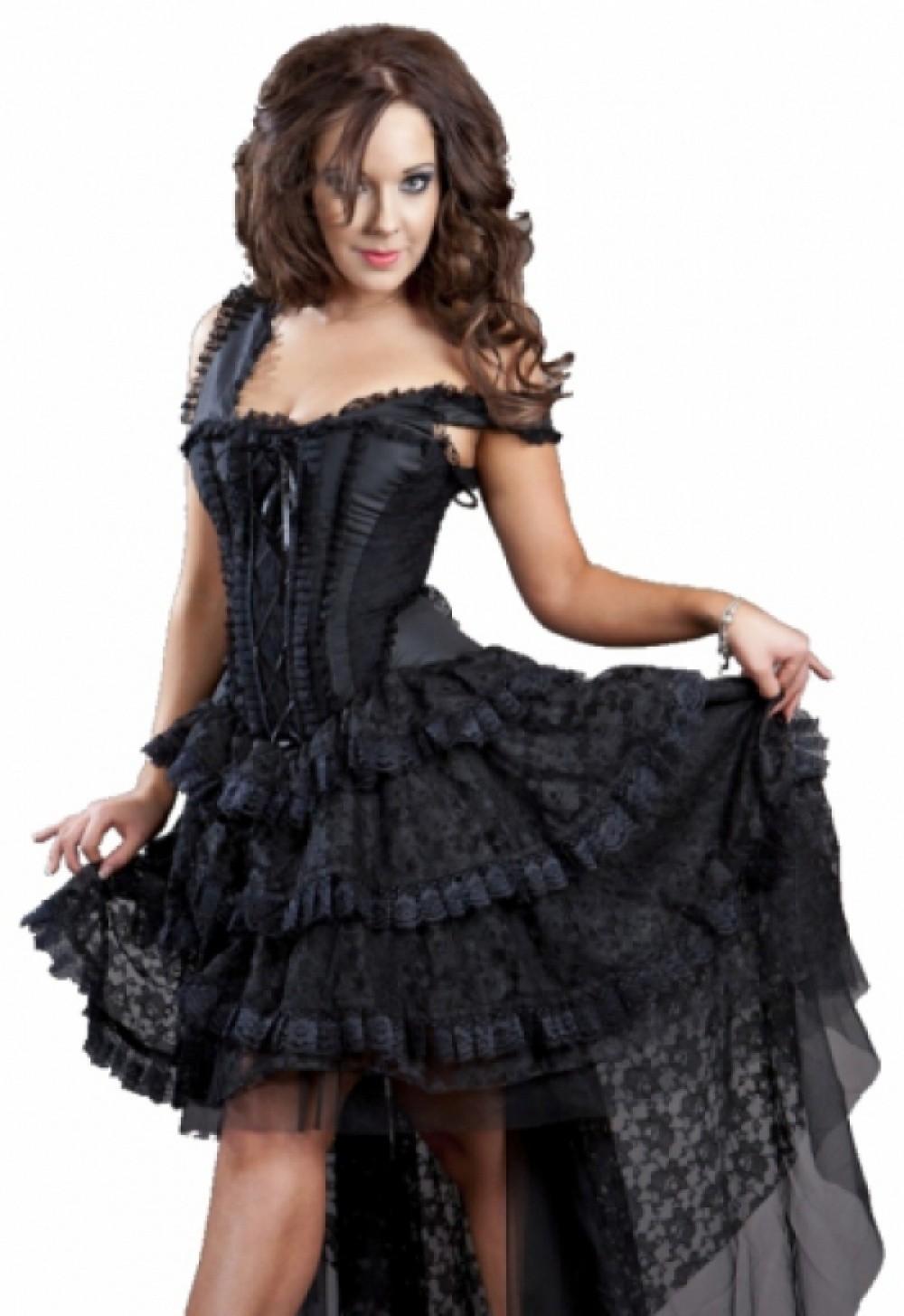 Burleska Ophélie Robe corset Taffetas et dentelle noir