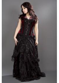 Burleska Jasmin Corset bretelles velours noir et bordeaux jupe dentelle