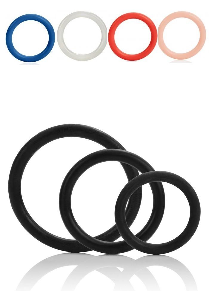 Cockring Tri Ring extensible par 3 -noir-rouge-bleu-fluo-transparent