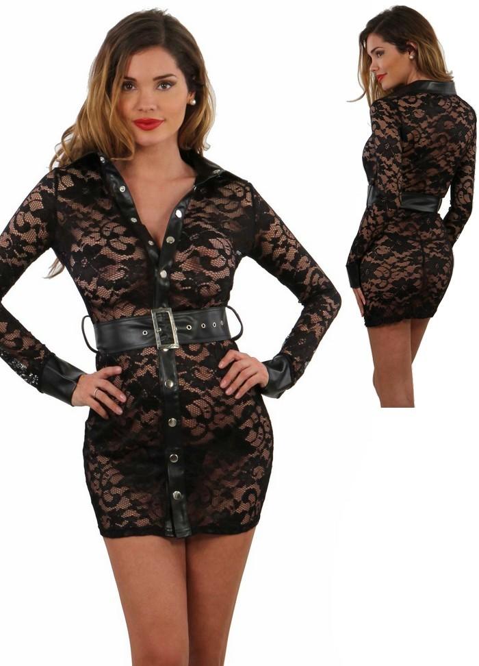 Robe courte sexy en dentelle noire avec col et ceinture en aspect cuir