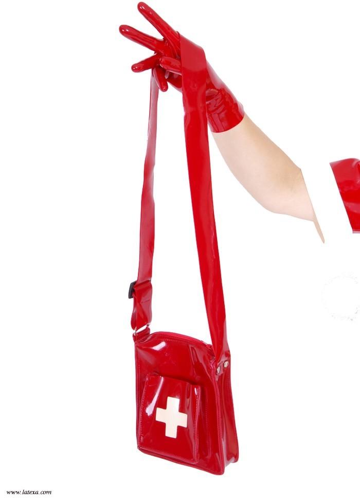 Latexa 3239 Sac à main Infirmière latex rouge blanc