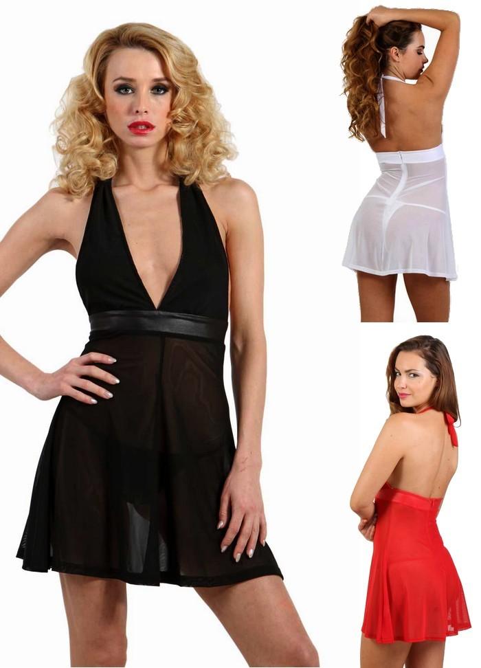 Robe courte et sexy en tulle transparent noir blanc ou rouge