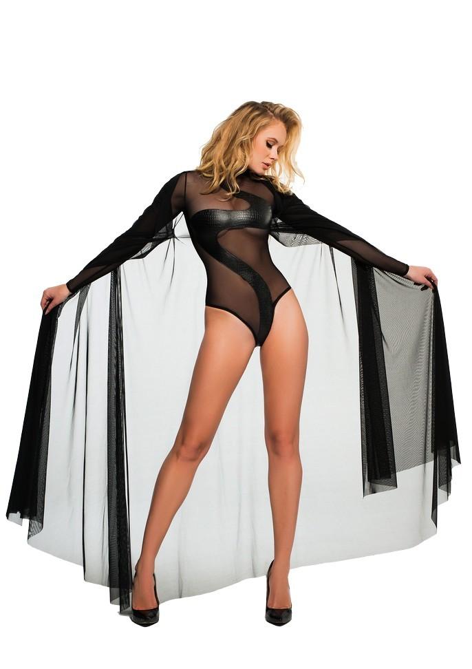 Déshabillé cape en voile transparent Coco Sheer Cape noir