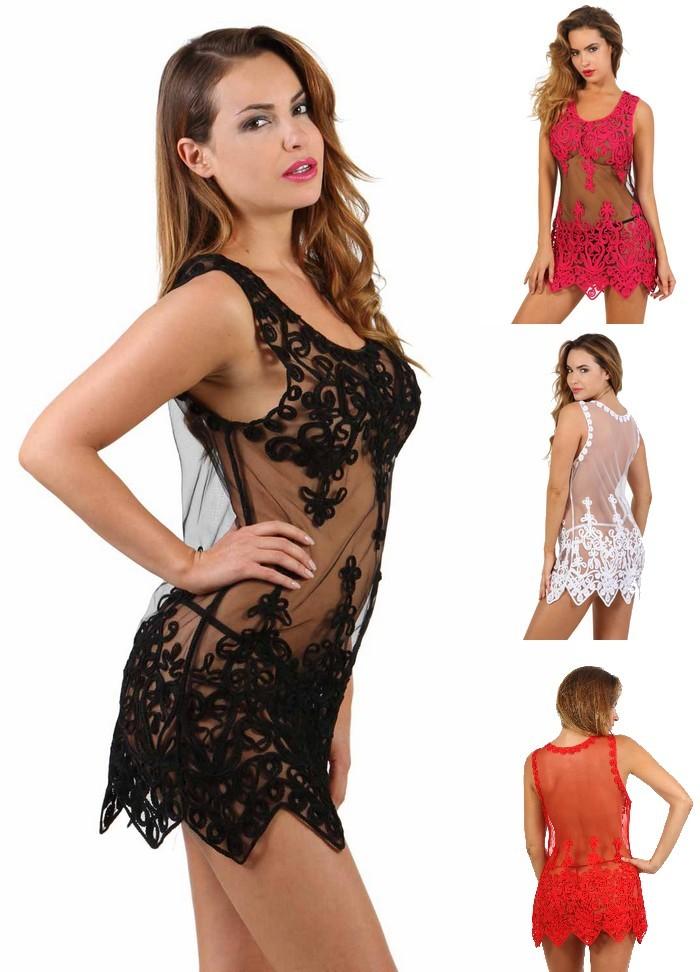 Robe sexy pour femme en tulle transparent noir, blanc, rouge ou fuchsia