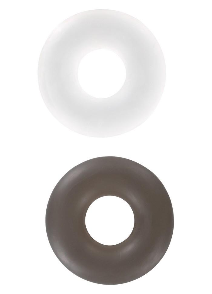 Cockring  donuts anneau pénis StudRing x 2 pièces blanc- noir